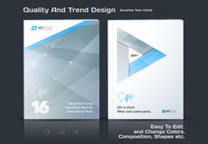 Het bedrijfs vectormalplaatje, brochureontwerp, vat jaarverslag samen, behandelt moderne lay-out vector illustratie