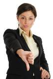Het bedrijfs vrouw gesturing beduimelt neer royalty-vrije stock foto