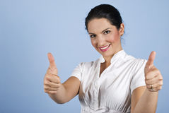 Het bedrijfs vrouw geven beduimelt omhoog Stock Afbeelding