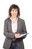 Het bedrijfs vrouw schrijven royalty-vrije stock afbeeldingen