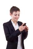 Het bedrijfs vrouw texting op telefoon Royalty-vrije Stock Foto's