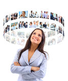 Het bedrijfs womaman kijken virtuele knopen Royalty-vrije Stock Foto's