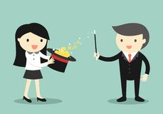 Het bedrijfsconcept, Zakenmangebruik zijn magische bevoegdheden maakt geld van de hoed stock illustratie