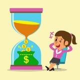 Het bedrijfsconcept zet tijd in geld met onderneemster om vector illustratie