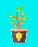 Het bedrijfsconceptenidee is voordelig lightbulb ideeteken in een pot met geldboom Het idee maakt geld Vector vlak beeldverhaal Royalty-vrije Stock Afbeelding