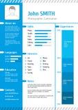 Het bedrijfscurriculum vitae en hervat vectormalplaatje Royalty-vrije Stock Afbeeldingen