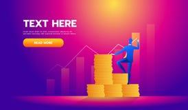 Het bedrijfsfinanciënconcept, Investeerder schrijft de grafiek - vectorillustratie vector illustratie