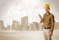 Het bedrijfsingenieur schaven bij bouwwerf met stadsbackgro stock illustratie