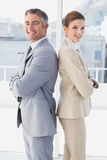 Het bedrijfsman en vrouwen glimlachen stock foto