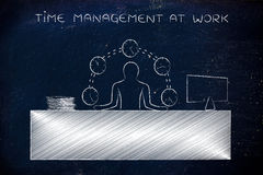 Het bedrijfsmens jongleren met tijd (klokken), tijdbeheer op het werk stock afbeelding