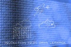 Het bedrijfsmens jumpying met doc. van onveilige aan veilige servic wolk Royalty-vrije Stock Afbeelding