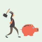 Het bedrijfsmens piggy breken Stock Foto's