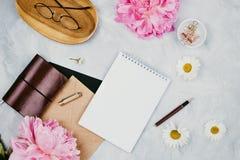 Het bedrijfsmodel met kantoorbehoeftenlevering, madeliefjes, pioen bloeit, notitieboekjes en glazen stock fotografie