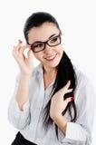 Het bedrijfsvrouw gelukkige glimlachen en het bekijken iemand of iets Stock Foto's