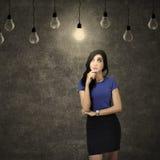 Het bedrijfsvrouw positieve denken Stock Foto's