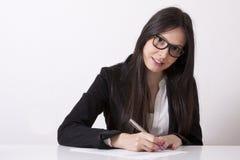 Het bedrijfsvrouw schrijven stock afbeeldingen