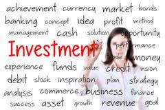 Het bedrijfsvrouw schrijven investeringsconcept Geïsoleerd op wit royalty-vrije stock foto