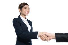 Het bedrijfsvrouw schudden handen met iemand royalty-vrije stock foto's