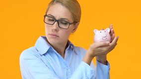 Het bedrijfsvrouw schudden spaarvarken, die naar investering, bankkrediet zoeken stock footage
