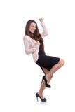 Het bedrijfsvrouw vieren bevordering Stock Foto