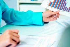 Het bedrijfsvrouw werken met het financi?le blad van de gegevensholding van document met financi?le in hand cijfers en maakt binn stock foto's