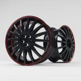 Het beeld 3D hoogte van het aluminium zwarte wiel - kwaliteit het teruggeven Witte beeld voorgestelde legeringsrand voor auto Royalty-vrije Stock Foto