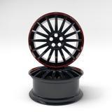 Het beeld 3D hoogte van het aluminium zwarte wiel - kwaliteit het teruggeven Witte beeld voorgestelde legeringsrand voor auto Stock Illustratie