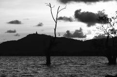 Het beeld, de boom en de berg van Boedha van de Sillohuetteschaduw Stock Afbeelding