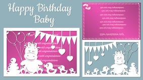 Het beeld met de inschrijving-gelukkige verjaardag Malplaatje met vectorillustratie van speelgoed Voor laserknipsel, plotter en s royalty-vrije illustratie