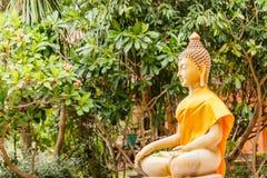 Het beeld van Boedha onder Bodhi-boom royalty-vrije stock afbeelding