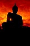 Het beeld van Boedha van het silhouet Royalty-vrije Stock Afbeelding