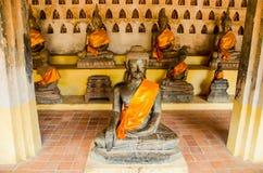 Het beeld van Boedha in Wat Si Saket is een Boeddhistische wat in Vientiane Royalty-vrije Stock Foto's