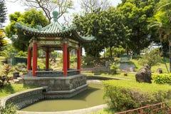 Het beeld van Chinese tuin in Rizal-park, Manilla, Filippijnen stock afbeeldingen