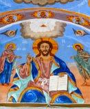 Het beeld van Christus in het muurschilderij van het Sokolinsky-klooster in Bulgarije royalty-vrije stock afbeeldingen