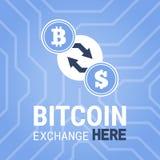 Het beeld van de Bitcoinuitwisseling hier op chipsetachtergrond Royalty-vrije Stock Afbeeldingen