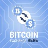 Het beeld van de Bitcoinuitwisseling hier op chipsetachtergrond Royalty-vrije Stock Fotografie