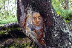 Het beeld van de bosdiegeest, op sparren wordt gesneden Stock Foto's