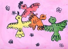 Het beeld van de Childsgouache van vogels Stock Afbeelding