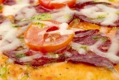 Het beeld van de close-up van pizza stock afbeelding