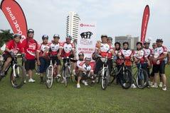 Het beeld van de groep na rit bij OCBC Cyclus Maleisië Royalty-vrije Stock Fotografie