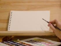Het beeld van de de schildersezelschets van de Mocupkunstenaar stock afbeeldingen