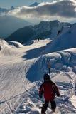 Het beeld van de ski sceninc in Zwitserse Alpen Royalty-vrije Stock Foto's