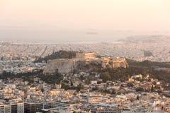 Het Beeld van de de Stadshorizon van Athene, Griekenland Royalty-vrije Stock Foto's