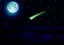 Het beeld van de volle maan met water Stock Foto