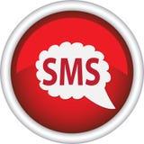 Rond teken dat SMS zegt Royalty-vrije Stock Foto's