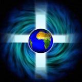 Het beeld van de voorraad van RuimteDraaikolk met kruis en aarde Royalty-vrije Stock Afbeeldingen