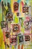 Het beeld van de waterkleur van verspreide vensters Stock Foto