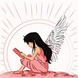 Het beeld van een engelenkind leest een boek bij dageraad vector illustratie