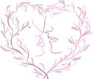 Het beeld van een romantische kus in een kader met hart Stock Fotografie