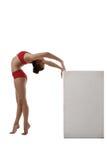 Het beeld van flexibele turner overspande haar terug naar kubus Stock Fotografie